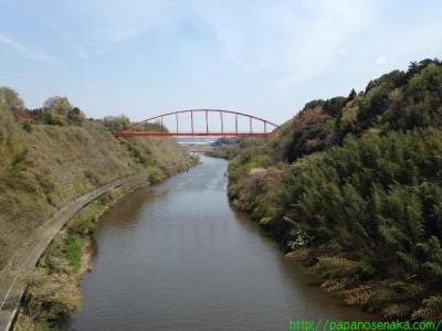 2014_04_13 02 印旛捷水路の端から成田スカイアクセスの鉄橋を眺める
